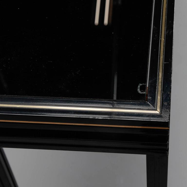 pierre vandel paris lacquered wood black glass and brass console for sale at 1stdibs. Black Bedroom Furniture Sets. Home Design Ideas