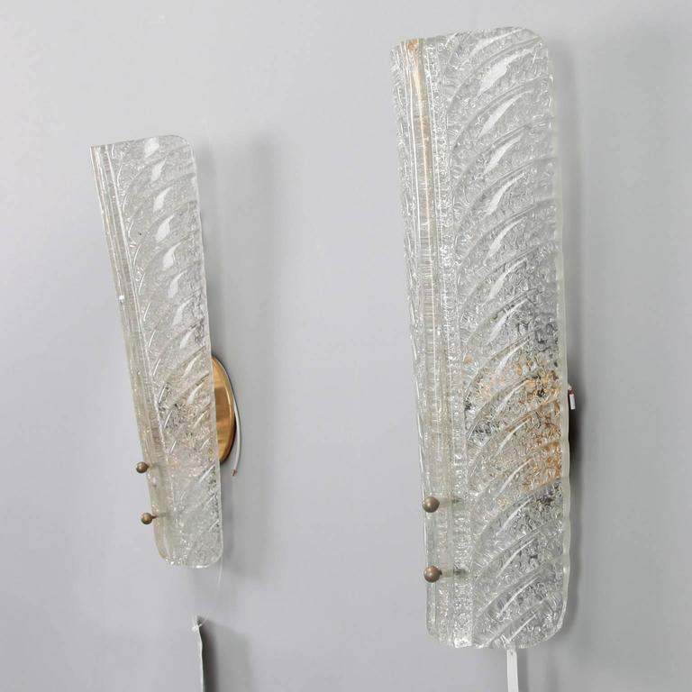 Pair of Tall Barovier and Toso Gold Dust Glass Wall Sconces For Sale at 1stdibs