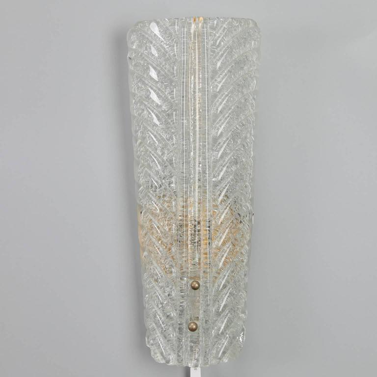 Tall Glass Wall Sconces : Pair of Tall Barovier and Toso Gold Dust Glass Wall Sconces For Sale at 1stdibs