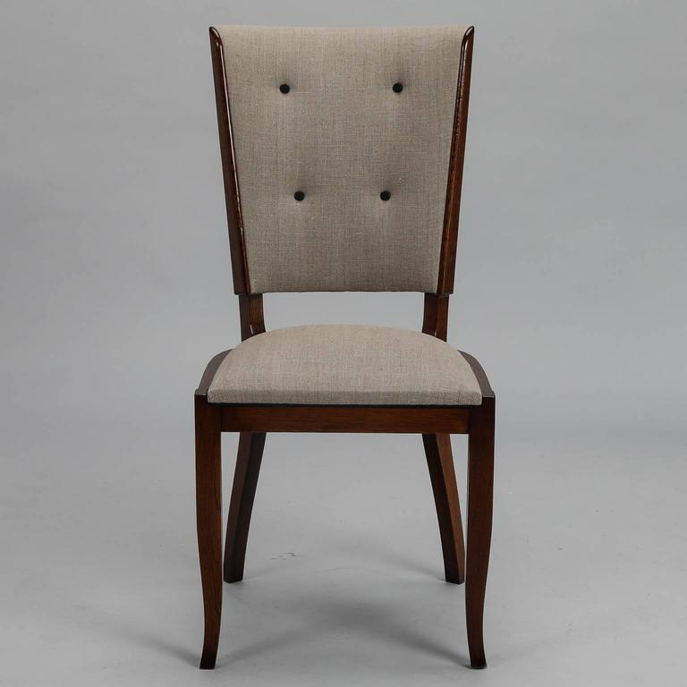 Set six tufted and polished mid century dining chairs for for Tufted dining chairs for sale