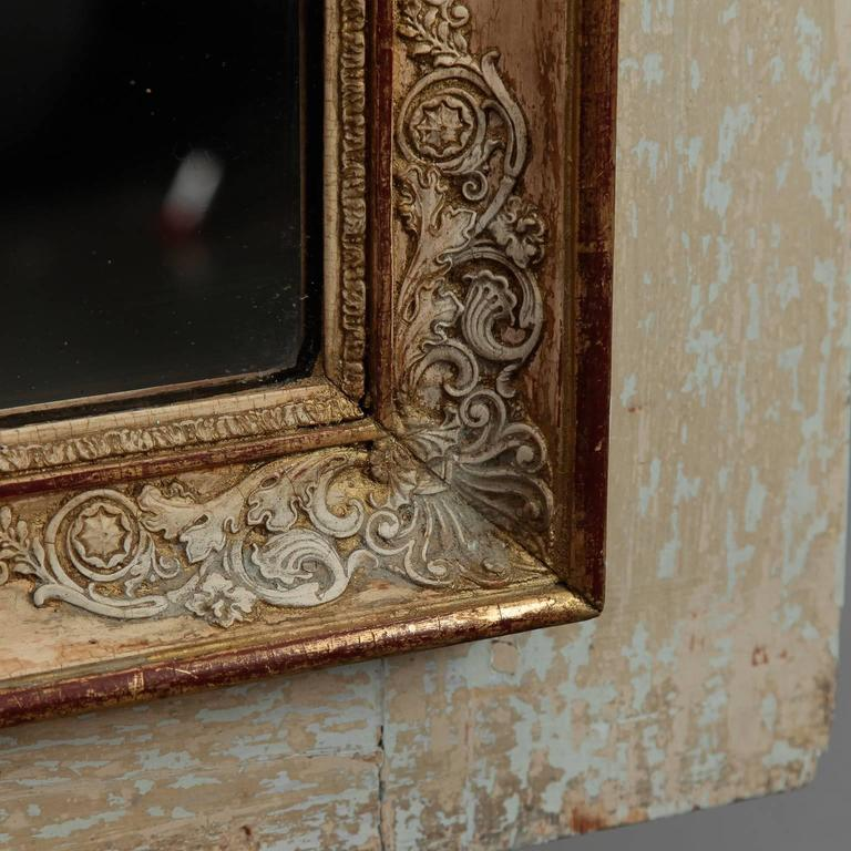 Trumeau Mirror With Antique White And Gilded Finish Circa