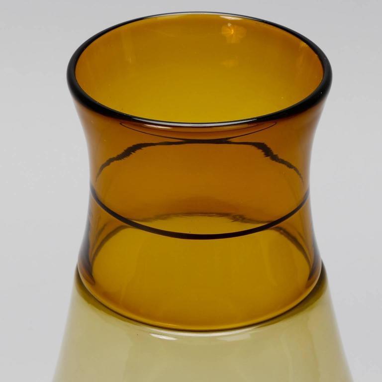 Italian Tall Signed Venini Beaker Style Amber Vase For Sale