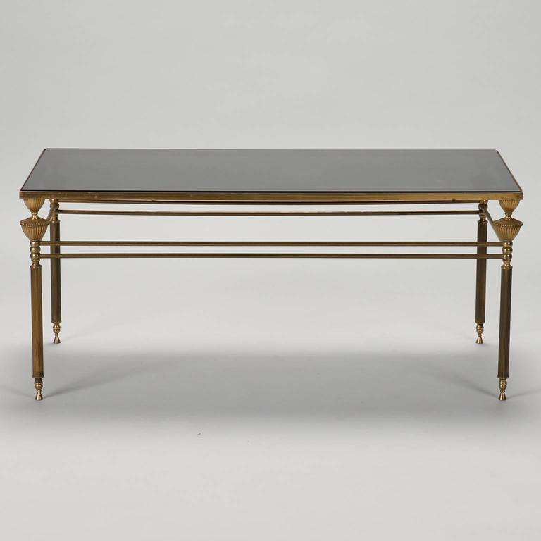 French Brass And Smoked Glass Coffee Table For Sale At 1stdibs