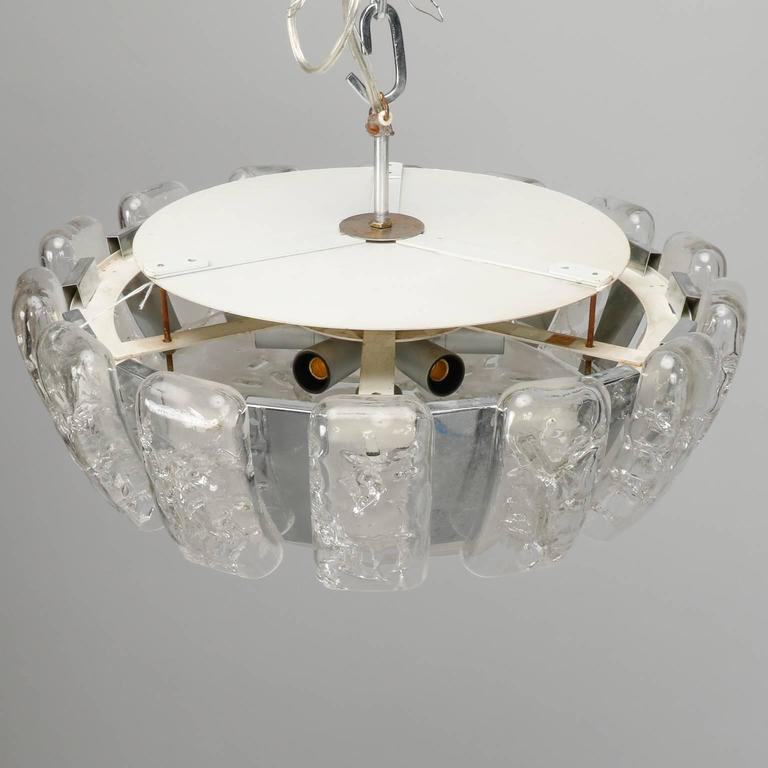 Mid-Century Modern Kalmar Mid-Century Icicle Glass Flush Mount Fixture For Sale