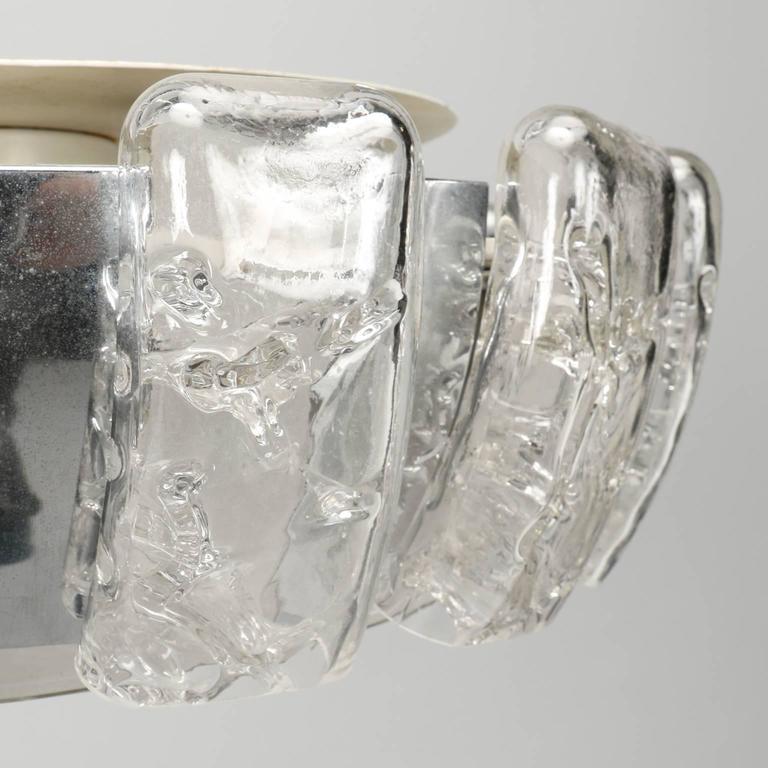 20th Century Kalmar Mid-Century Icicle Glass Flush Mount Fixture For Sale