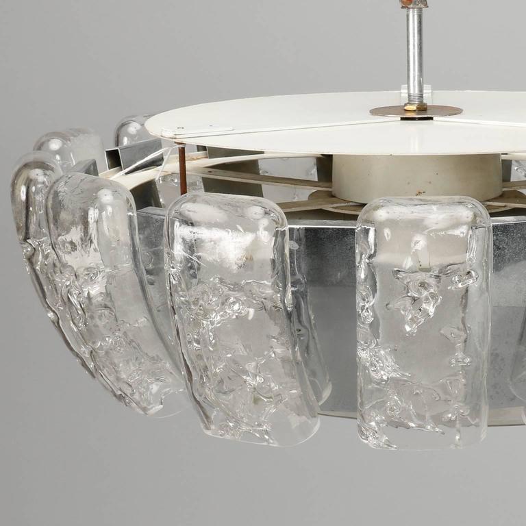 German Kalmar Mid-Century Icicle Glass Flush Mount Fixture For Sale