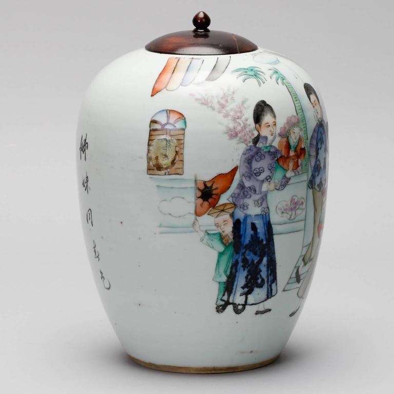 Chinese Export Hand-Painted Chinese Vessel with Lid For Sale
