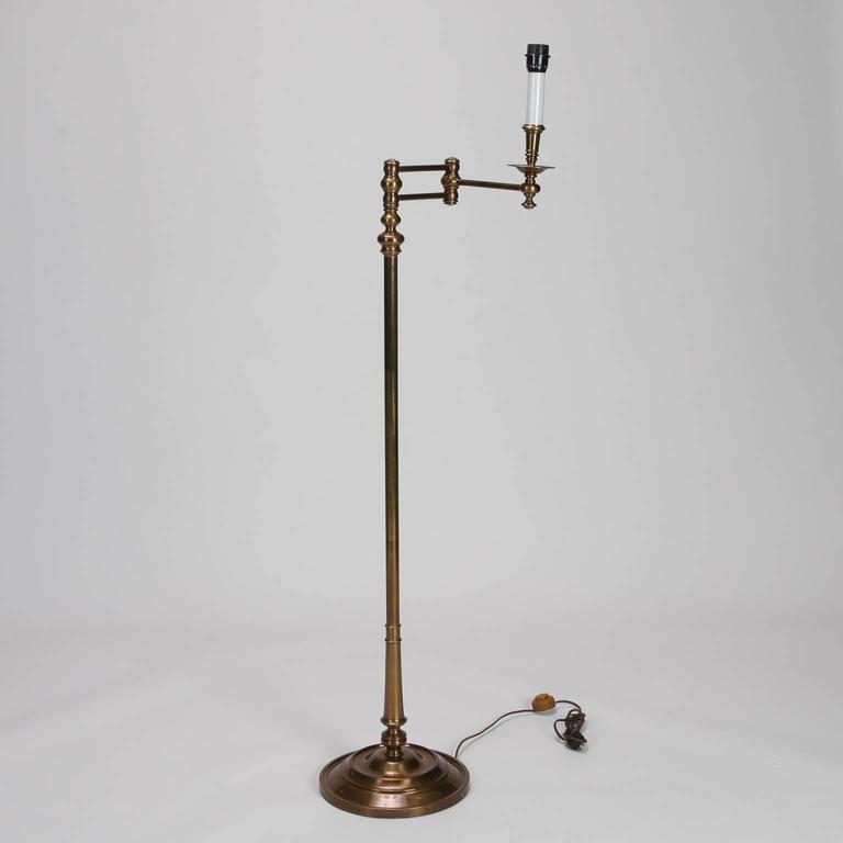 Brass Floor Lamps With Swing Arm: English Brass Swing Arm Library Floor Lamp For Sale At 1stdibs