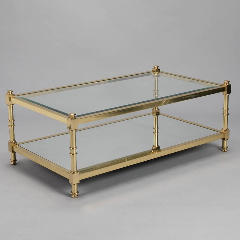 Three Italian Mid Century Glass And Brass Tables For Sale At 1stdibs