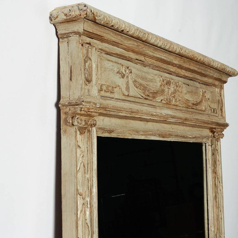 20th Century Large Painted Green Gray Mirror with Carved Details For Sale