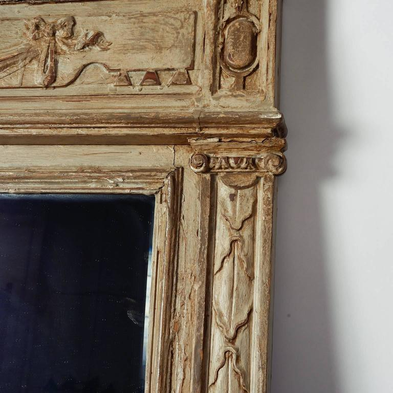Large Painted Green Gray Mirror with Carved Details For Sale 1
