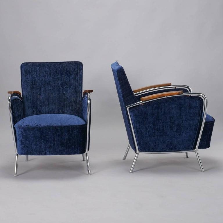 German Pair of Bauhaus Steel and Wood Club Chairs For Sale