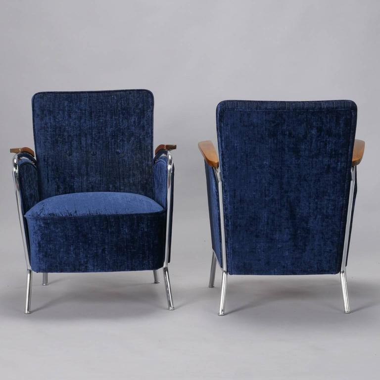 Pair of Bauhaus Steel and Wood Club Chairs In Good Condition For Sale In Troy, MI