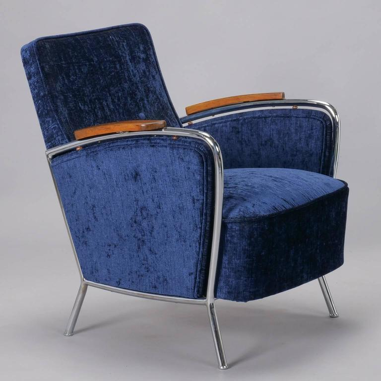 20th Century Pair of Bauhaus Steel and Wood Club Chairs For Sale