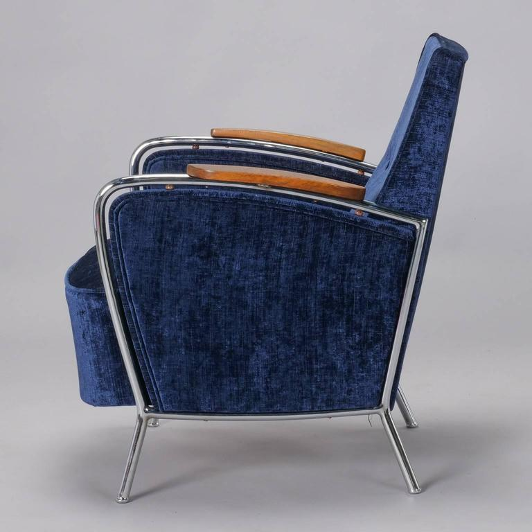 Pair of Bauhaus Steel and Wood Club Chairs For Sale 3