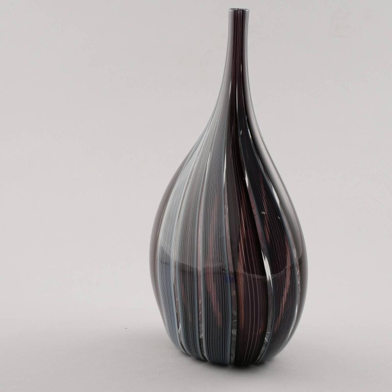 Italian Adriano dalla Valentina Murano Glass Vase with Slender Neck