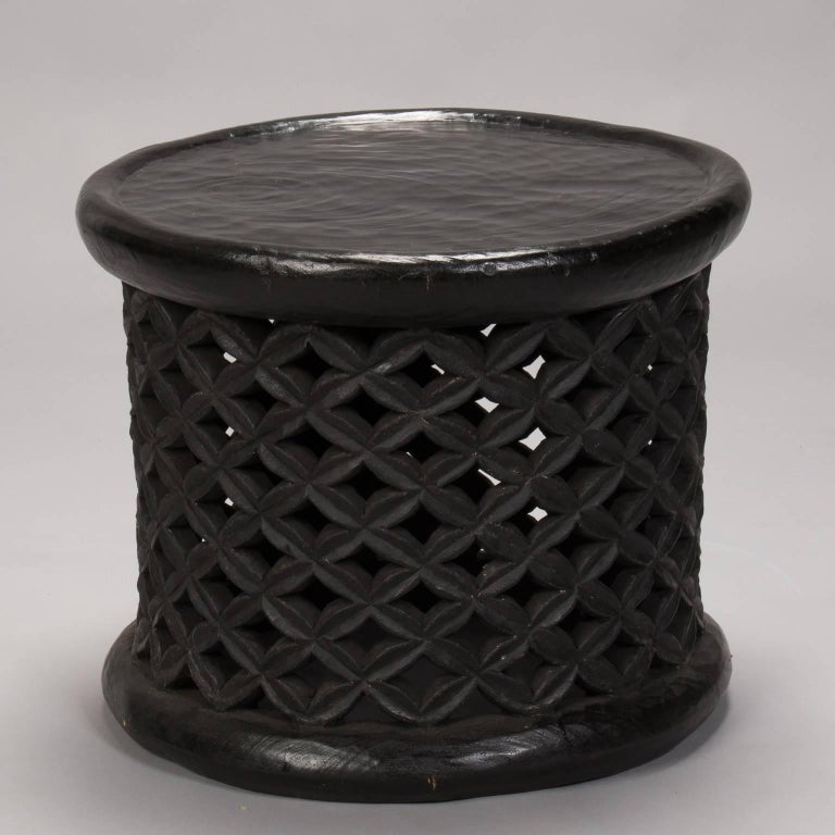 Bameleke Grid Pattern Carved Table Or Stool From Cameroon