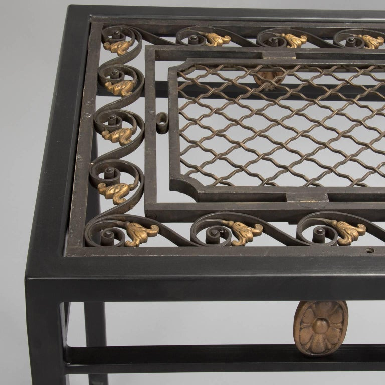 console custom made from french fer forge decorative grill