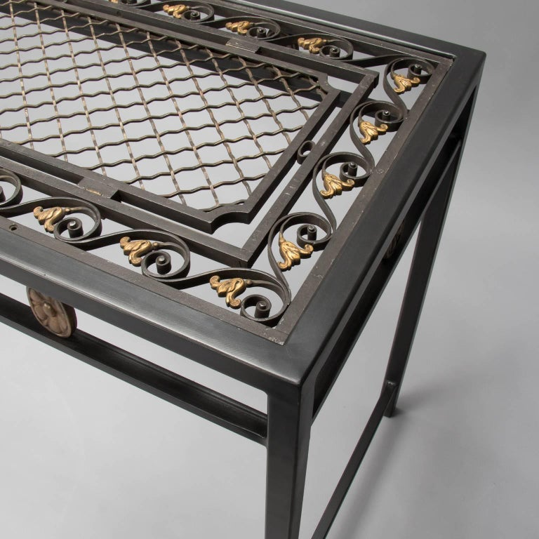 console custom made from french fer forge decorative grill. Black Bedroom Furniture Sets. Home Design Ideas