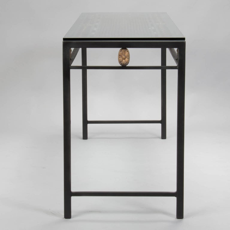 console custom made from french fer forge decorative grill at 1stdibs. Black Bedroom Furniture Sets. Home Design Ideas