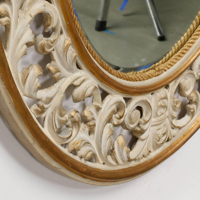 Italian Oval White Framed Mirror with Reticulated Frame For Sale 3