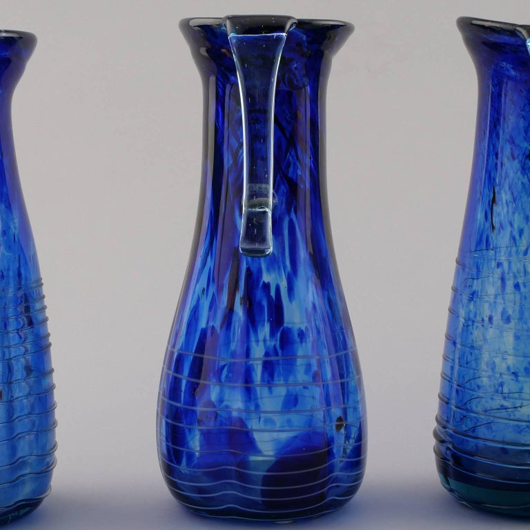 Italian Blue Murano Glass Pitcher For Sale