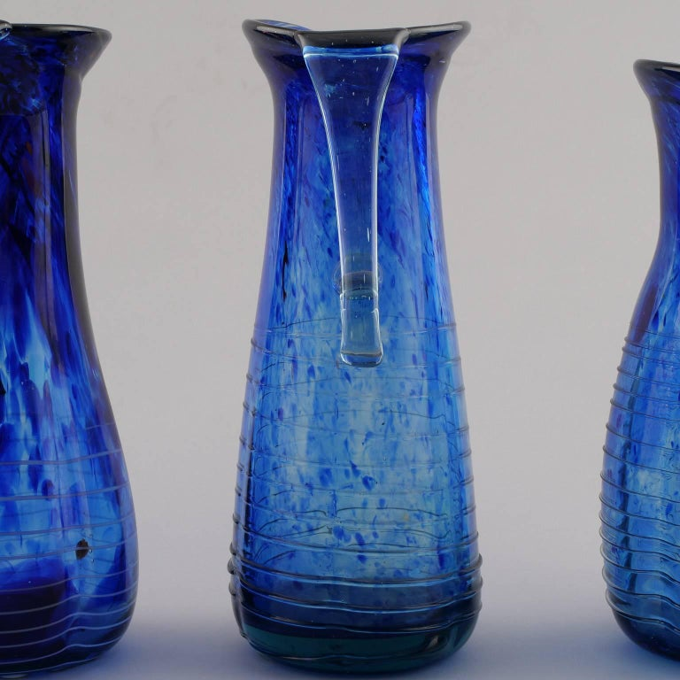 Blue Murano Glass Pitcher In Excellent Condition For Sale In Troy, MI