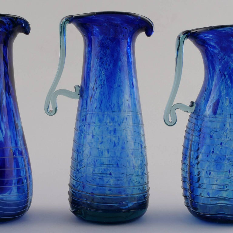Blue Murano Glass Pitcher For Sale 3