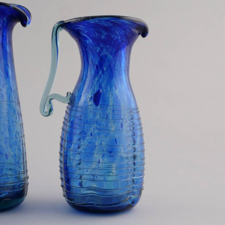 Blue Murano Glass Pitcher For Sale 5