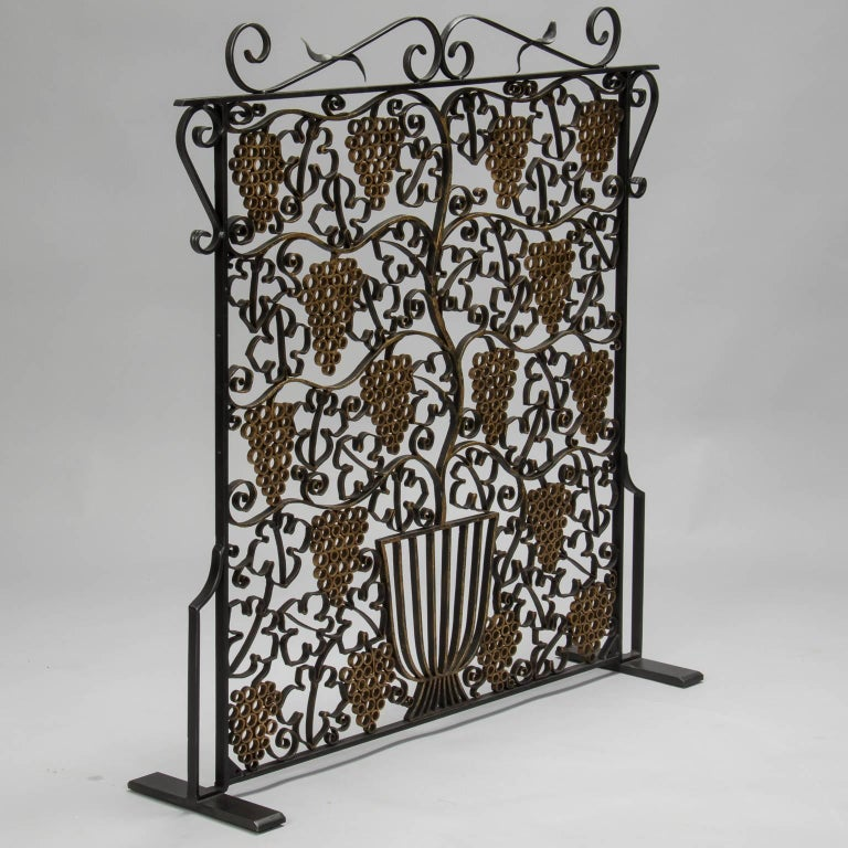 Fireplace Screen Made From French Art Deco Iron Grill For Sale At 1stdibs