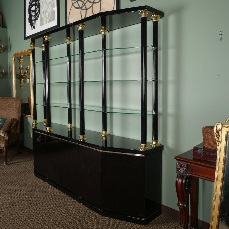 Midcentury Italian Black Lacquer And Brass Wall Unit For