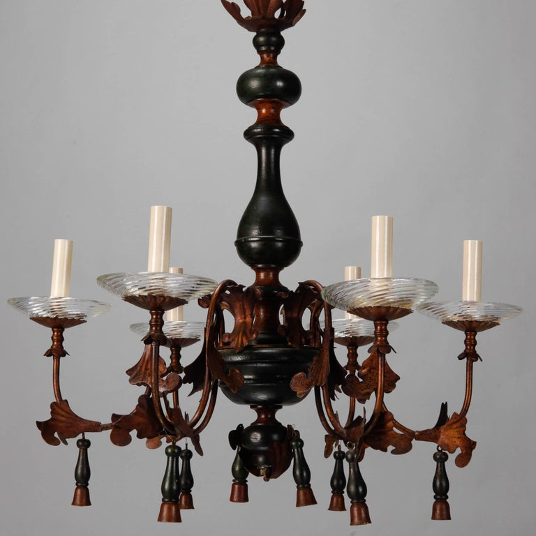 20th Century Italian Wood and Gilt Metal Six-Arm Chandelier For Sale
