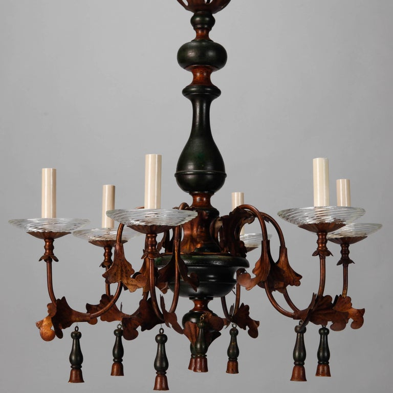 Italian Wood and Gilt Metal Six-Arm Chandelier 5
