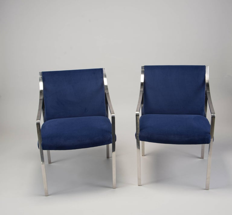 American Pair of Midcentury Bert England for Stow Davis Steel Frame and Velvet Arm Chairs For Sale