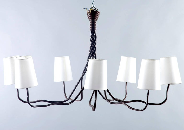Extra Large Seven-Light Hand-Wrought Iron Chandelier For Sale 2