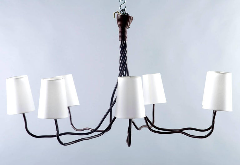 20th Century Extra Large Seven-Light Hand-Wrought Iron Chandelier For Sale