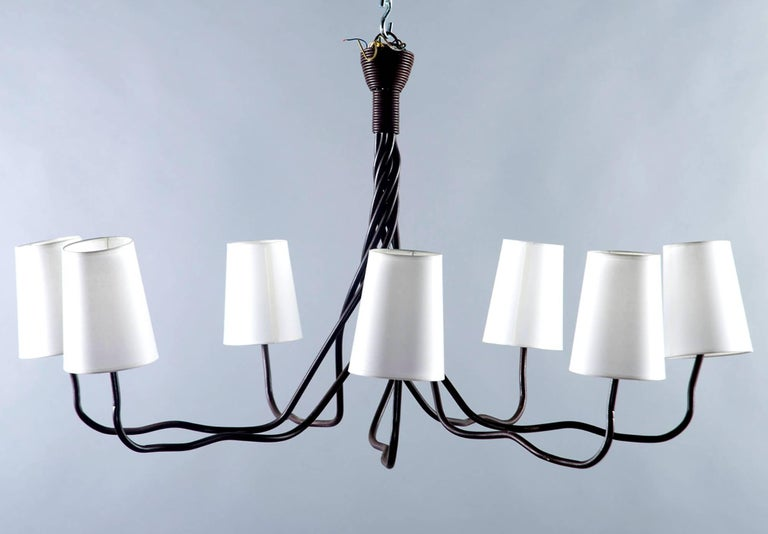 Extra Large Seven-Light Hand-Wrought Iron Chandelier For Sale 1