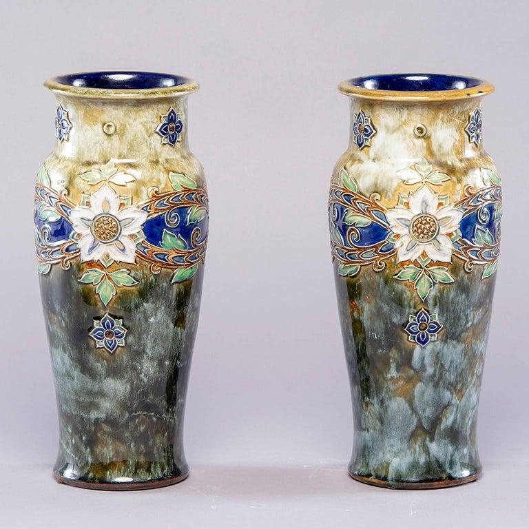 Pair Of Tall Royal Doulton Art Nouveau Lambeth Vases By Winnie