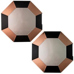 Pair of Art Deco Octagonal Mirrors with Black and Apricot Mirrored Frame