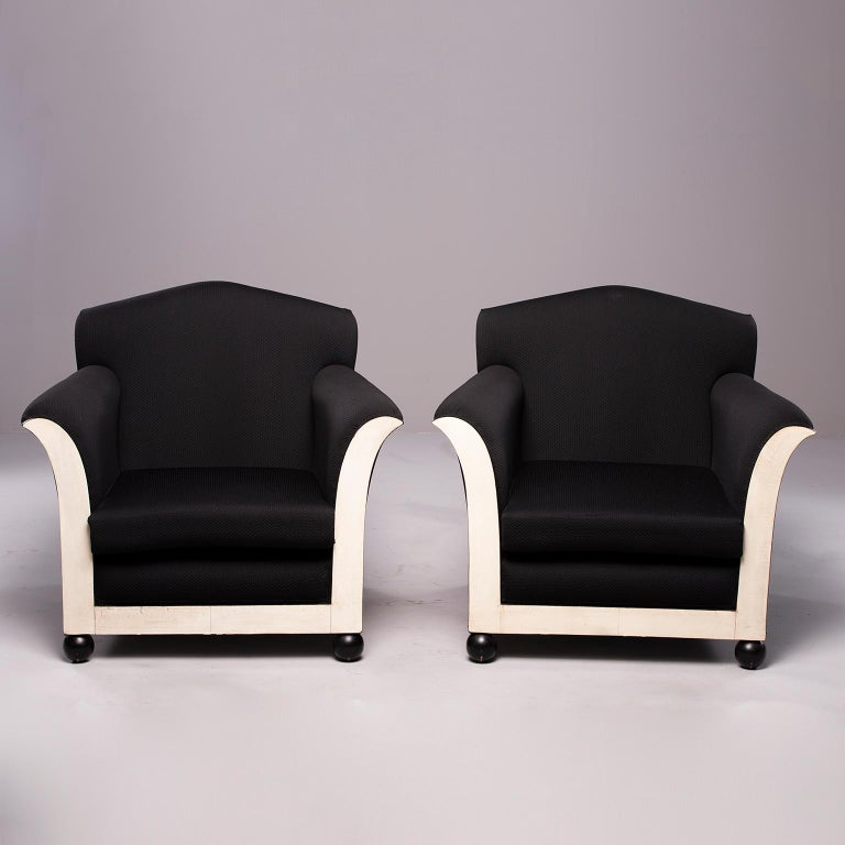 20th Century Pair of French Vellum Edged Art Deco Club Chairs For Sale