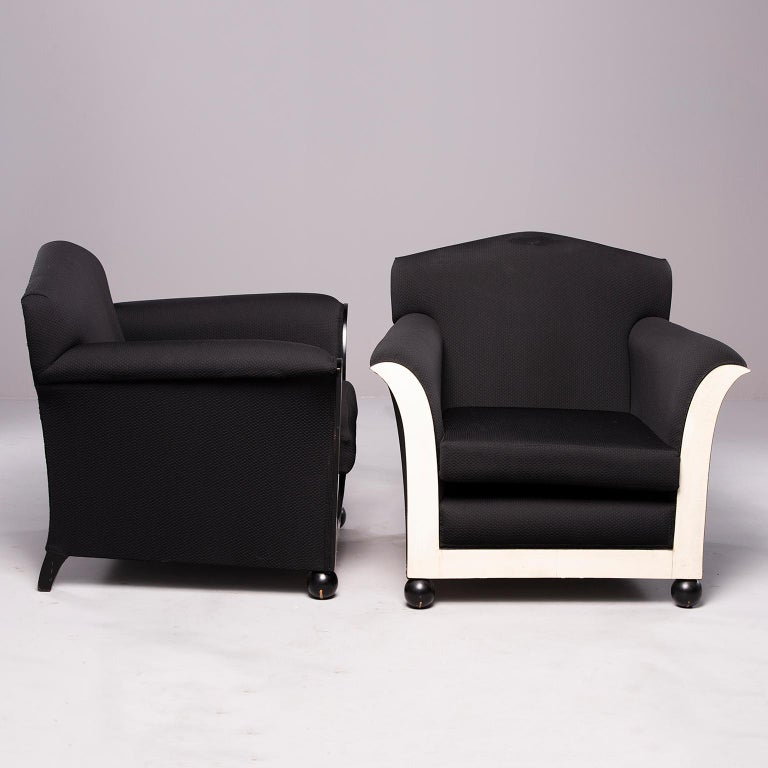 Upholstery Pair of French Vellum Edged Art Deco Club Chairs For Sale