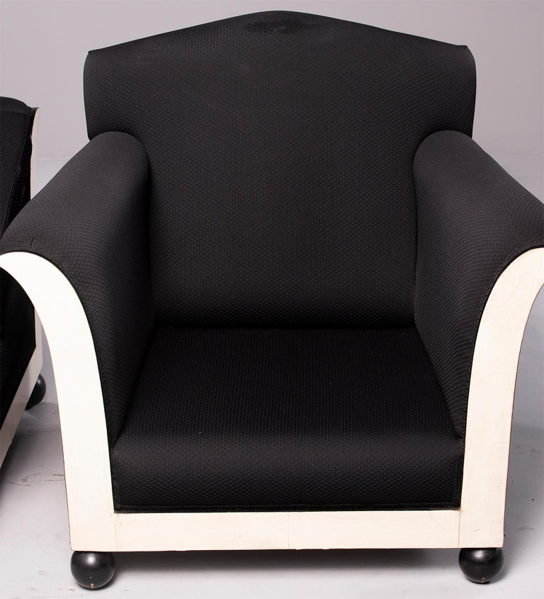 Pair of French Vellum Edged Art Deco Club Chairs For Sale 2