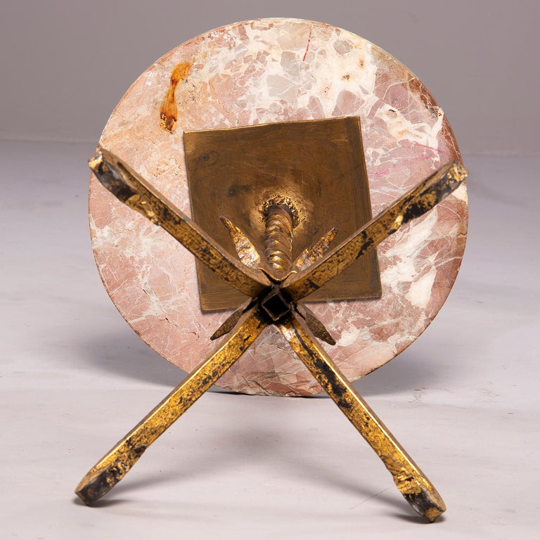 Spanish Gilt Iron and Marble Side Table For Sale 2