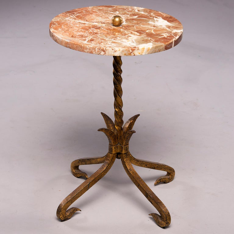 20th Century Spanish Gilt Iron and Marble Side Table For Sale