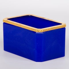 French Royal Blue Opaline Glass Box with Brass Mounts