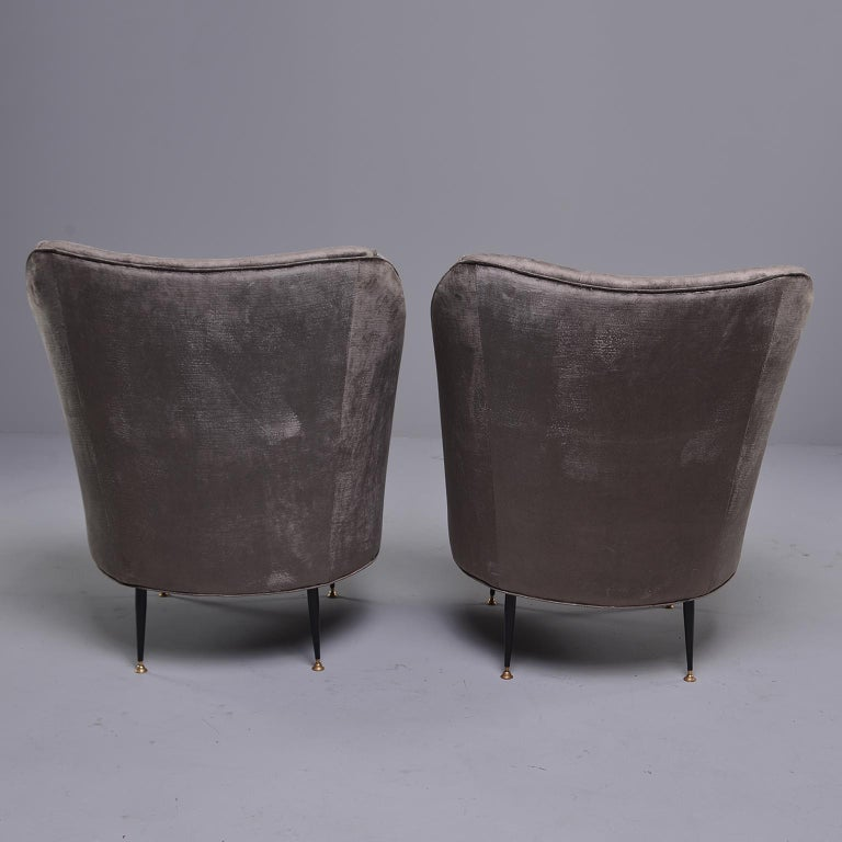 Pair of Midcentury Italian Chairs with Matching Stools For Sale 1