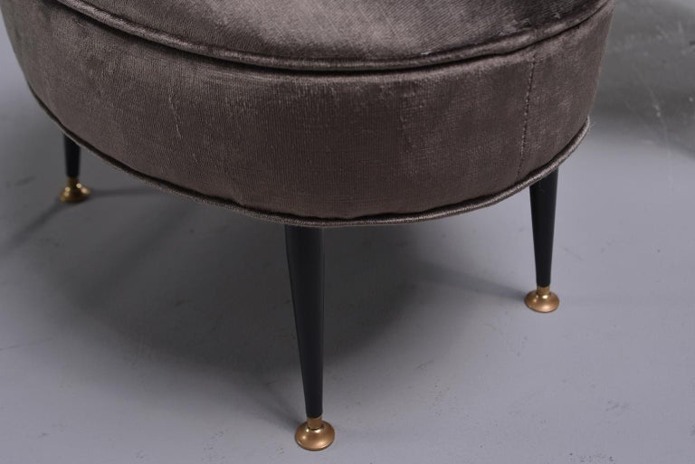 Pair of Midcentury Italian Chairs with Matching Stools For Sale 4