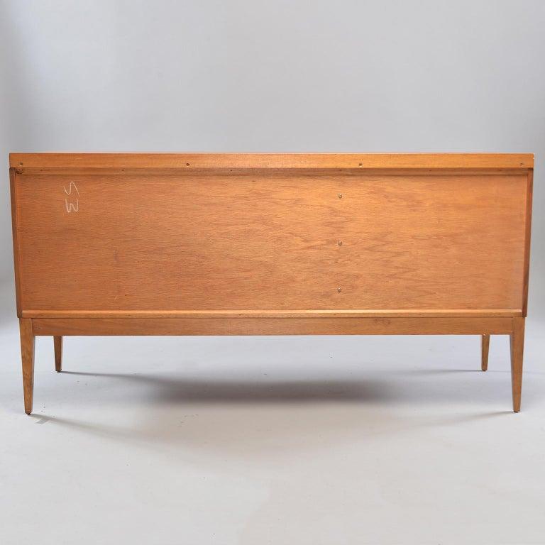 Brass Midcentury English Walnut Sideboard For Sale