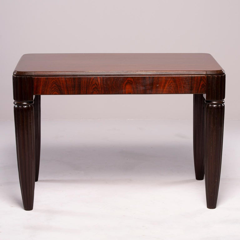 French Rosewood Writing Table with Fluted Legs In Good Condition For Sale In Troy, MI