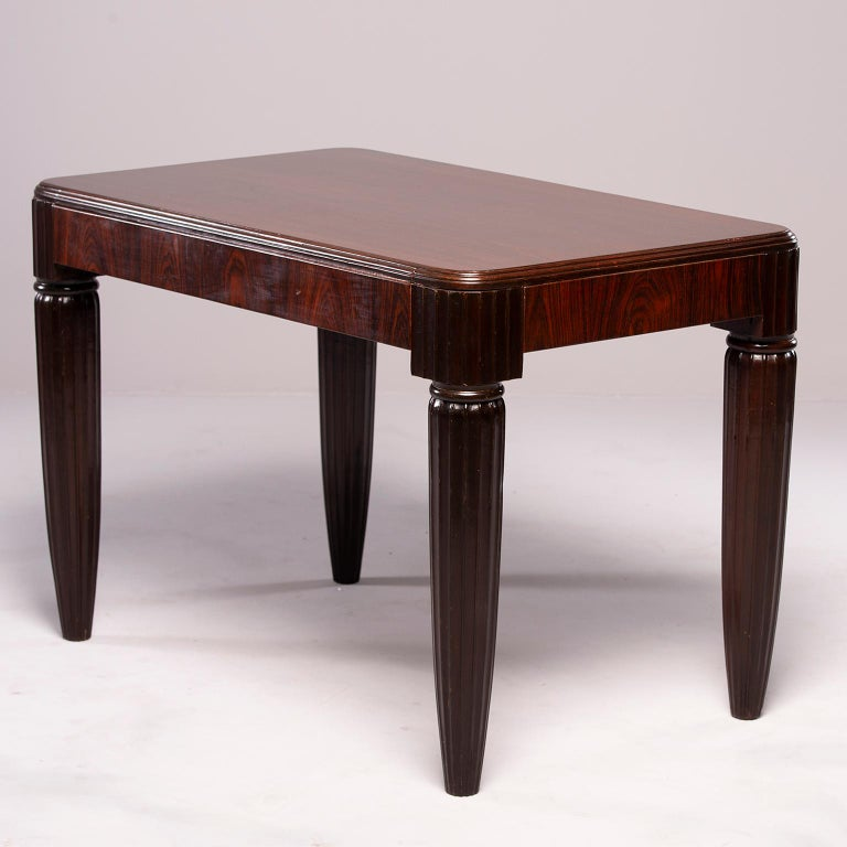 20th Century French Rosewood Writing Table with Fluted Legs For Sale